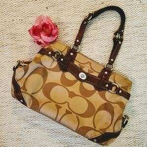 Coach purse ♡ canvas with leather trim
